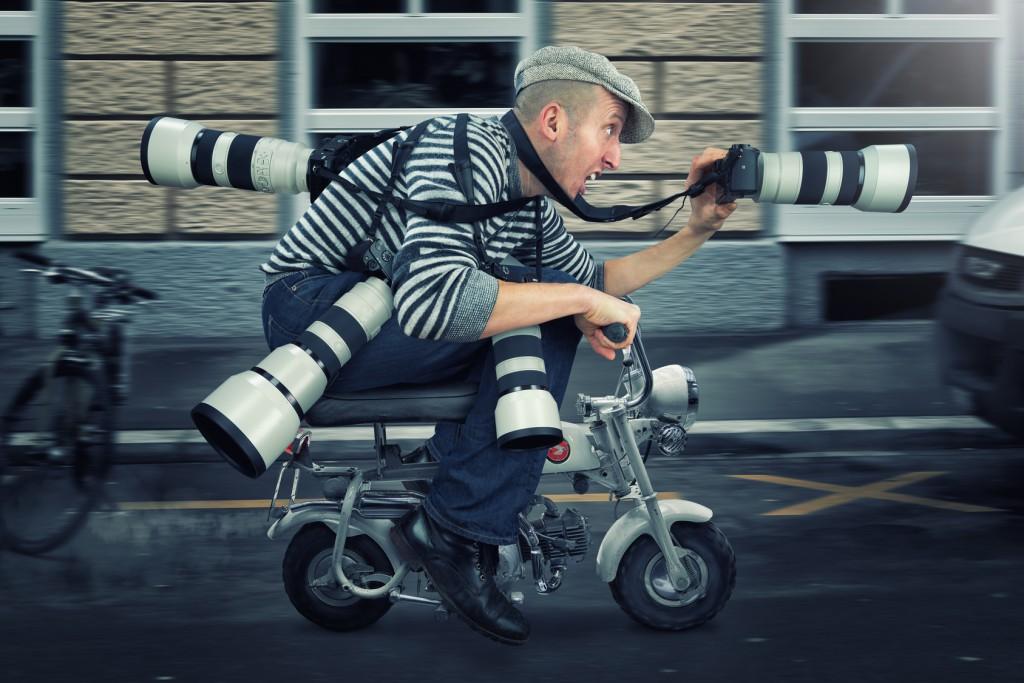 Fotograf auf Roller